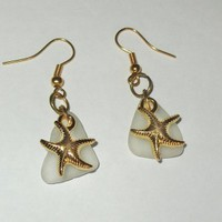 White Sea Glass Earrings with Gold Starfishes