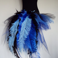 Royal Blue Peacock Burlesque Tutu skirt size 4 -10 U.S. 6 -12 U.K.