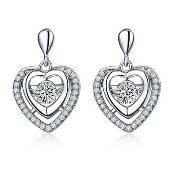 Women's Sterling Silver Earring Heart Shaped