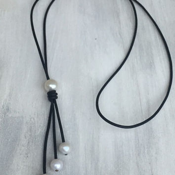 Leather freshwater pearl teardrop tassel necklace, freshwater pearl necklace, pearl necklace, pearl necklace