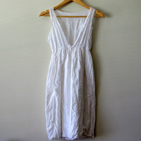 Vintage Eyelet Dress White Mini See Through Autumn Fall Summer Bohemian