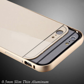 Dual Hybrid 0.5mm Metal Aluminum Bumper + Back Cover For iphone 6 Moblie Phone Cases For Apple iphone 6 Plus Shockproof Shell
