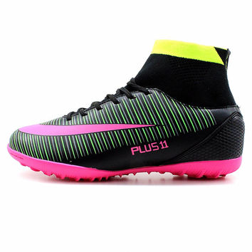 RS Men's Black Purple High Ankle Turf Sole  AG Sole Indoor Cleats Football Boots Shoes Soccer Cleats #30B