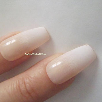 french manicure coffin fake nails ballerina airbrush false nail wedding nude look drag queen ballerina glue on press on nail lasoffittadiste