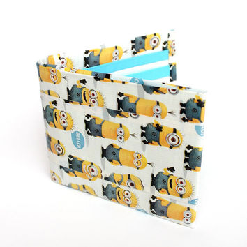 Duct Tape Bifold Wallet ~ Made with Minions Print Licensed Duct Tape. Minions wallet,Despicable Me,Unique wallet,Unique gift,Kids Wallet