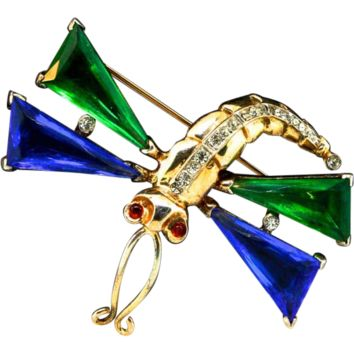 Trifari Sterling Dragonfly Brooch 1940s Alfred Philippe Rare