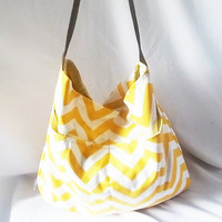 Hobo  Chevron Hobo bag with Brown suede strap  Zig zag by ACAmour