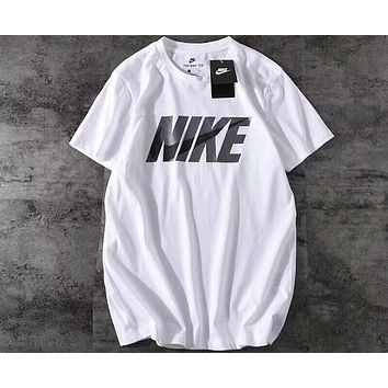 NIKE new trend men and women stylish big hook T-shirt F-A-BM-YSHY White