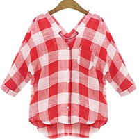 Zmart Women's V-Neck Long Sleeve Plaid Cotton Blouse