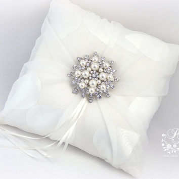 Wedding ring bearer pillow Tulle Heart shape satin Swarovski Pearl Rhinestone adornment white ring pillow bridal ring cushion