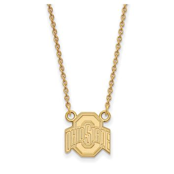 NCAA 10k Yellow Gold Ohio State Small Logo Pendant Necklace