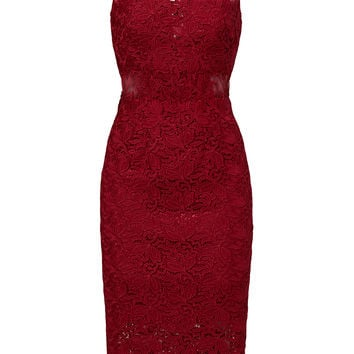ML Monique Lhuillier Red Romantic Illusion Dress