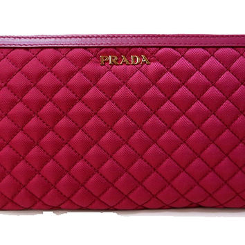 Prada 1M0506 Wallet in Stitched Quilted Pattern Pink Ibisco Leather and Nylon