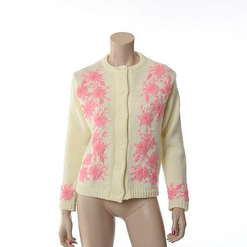 Vintage 60s Pink Embroidered Flowers Sweater 1960s Rockabilly Pin Up Bombshell Betty Off White Lerner Acrylic Knit Cardigan Jacket