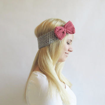 Coral and Gray Bow Headband Crochet Bow Ear Warmer Coral Pink and Light Gray for Women Teens Girls