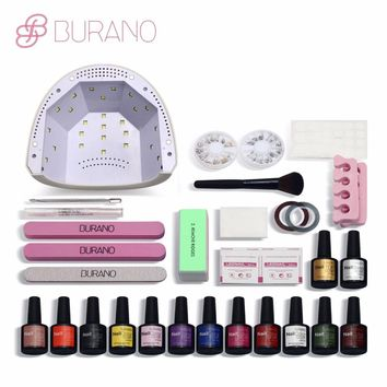 Burano gel lacquer gel  48w led lamp timer nail dryer choose 12 colors uv gel polish nail art kit set uv gel polish manicure set