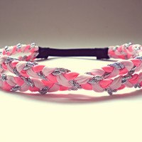 Light Pink Coral and Silver Double Braided Headband Hippie Headband Womens Hair Accessories