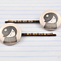 Illustrated Sepia Mod Girl Bobby Pins, Hair Slides, Hair Accessories, Plastic Bobby Pins, Sepia art, Modern Picture, Retro Vintage Style