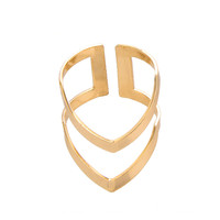 2016 New Fashion Simple Design Punk Double V Shape Finger Rings for women  in Gold/Silver/Rose-gold JZ248