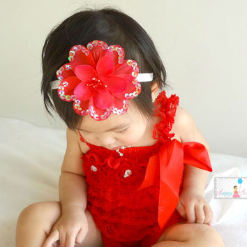 Red Large Sequin Silk Flowers headband
