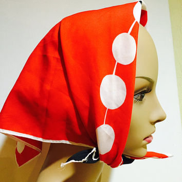 Vera Neumann Scarf Mod Dots And Geometric Design Square White Red Black Hand Rolled Edges