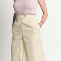 Vintage 70s Cream Khaki High Waisted Straight Midi Skirt | 4/6