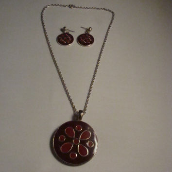 Vintage Red Brown Painted Enamel Necklace Pendant and Earring Set Flower Spring and Summer Costume Jewelry