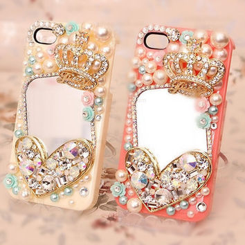 Love Crown pearls Mirrors DIY Phone Case Deco Den Kit & by chen370