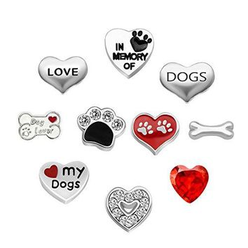 LuckJewelry 10Pcs Love Dogs Paw Print Living Lockets Charms For Memory Floating Necklaces amp Bracelet
