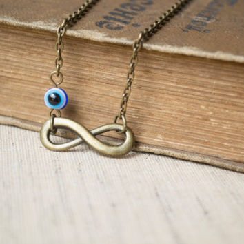 Infinity Necklace. Antique Brass. Evil Eye Necklace. Bridesmaid Necklace, Friendship Gift. Dainty, Feminine. Infinity & Evil Eye Jewelry