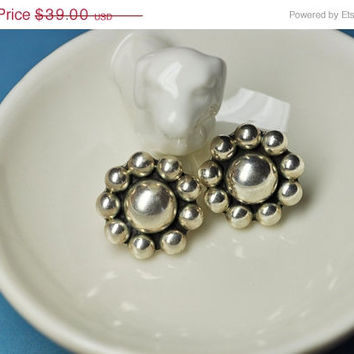 ON SALE Vintage TAXCO 925 Silver Modernist Cluster Pierced Earrings, Mexico, Silver Ball, Flower, Chunky, Bold and Beautiful! #a980