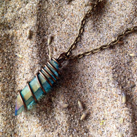 Mermaid Aura Crystal Necklace Blue Aqua Aura Quartz Crystal Necklace Raw Crystal Healing Crystals and Stones Wrapped Crystal Mermaid Crystal