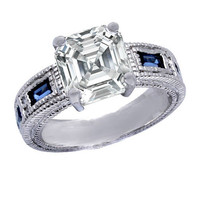 Engagement Ring - Asscher Cut Diamond Engagement Ring Setting With Sapphires In 14K White Gold 0.52 tcw. - ES295AC