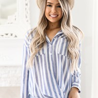 STRIPED BLUE BUTTON DOWN