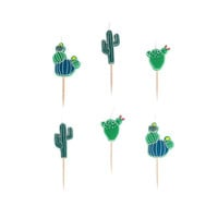Cactus candles. Set of 6.  Cactus party candles. SMALL cacti birthday candle. Cactus cupcake topper.  Cactus cake toppers. Fiesta candles