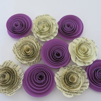 "Book page and Purple paper flowers, 10 piece set, 1.5"" roses, book lover wedding theme, baby shower decor, bridal shower decorations"