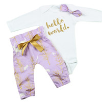 Baby Newborn take home outfit | Purple, Gold Deer Hello World Outfit | Lavender Gold White High Waisted Pants and Knotted Headband