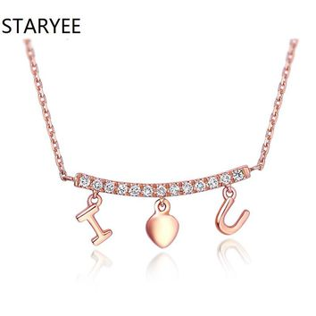 "STARYEE 18K Gold 0.1CT Diamond ""I Love You"" Pendant Necklaces For Women"
