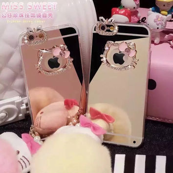 NEW cover with hello kitty mirror diamond case  for iphone 5 6 6s 6plus 6splus Soft TPU Cover luxury bling diamond case P18/21