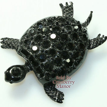 Pell Brooch Pin, Turtle Figural Black Rhinestone & Enameled Jewellery, Runway Accessories, Vintage Fashion, Designer Signed, Costume Jewelry