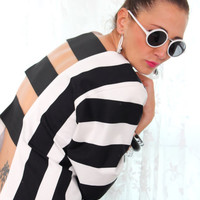Handmade Backless Oversized Plus size Black and White Stripes Cotton Kimono Sleeves Spring Summer Top / Blouse