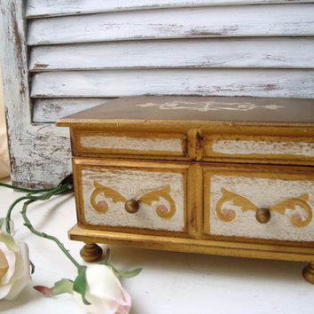 Vintage Gold and White Wooden Musical Jewelry Box, Shabby Chic, Fleur De Lis, Cream and Gold Jewelry Holder, Made in Japan, Farrington