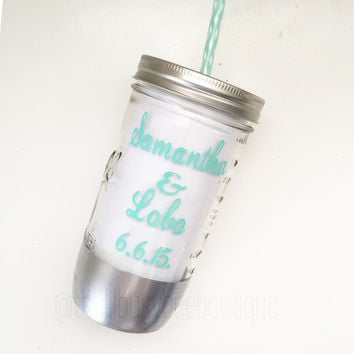 Custom Mason Jar Tumbler // Silver Dipped // Does This Ring Make Me Look Engaged // 24oz // Custom Tumbler //