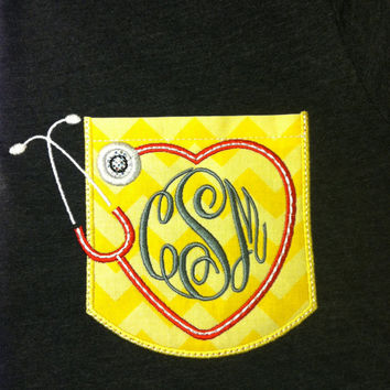Custom Nurse Short Sleeve Chevron Sparkly monogrammed Pocket tee with heart and stethoscope with Monogram