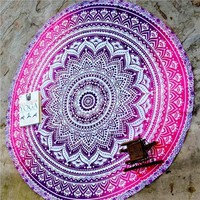 Multifunctional Breathable Mandala Boho Round Lotus Beach Towel  Wall Hanging Tablecloth Christmas Gift QD112001