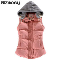 Women Autumn/Winter Fashion Waistcoat Hooded Thick Warm Down Cotton Wool Collar Vest Female Large Size Jacket&Outerwear BN293