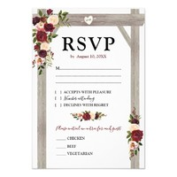 Rustic Burgundy Blush Floral Boho Wedding RSVP Card