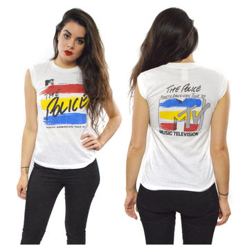 Vintage 80s The Police North American Tour 83 MTV Tank Top T Shirt Sz S