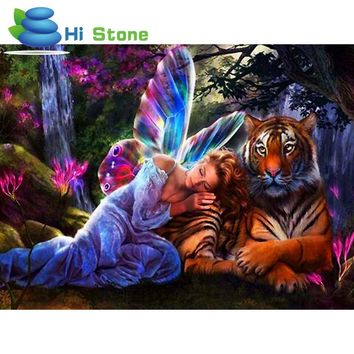 Diamond Painting Kits Tiger Girl Beauty and the Beast Decoration Rhinestones Cross Stitch 5D Diy Embroidery Mosaic Needlework