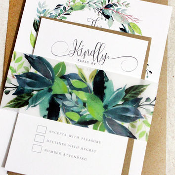 Green Ivy Wedding Invitations, Botanical Wedding Invitations, Green leaf invitations, Natural wedding invitation, Green and White, Cotton